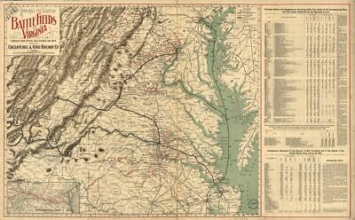 1898 Map showing the location of battle fields of Virginia United States, Virgin