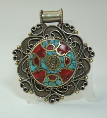 Collection chinese old hand-made Tibetan silver inlay Turquoise pendant 03/Aa02