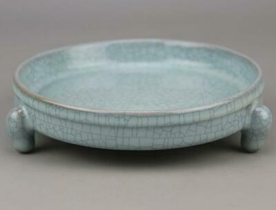 Collection China Old Hand Made Azure Crack Glaze Porcelain Fruit Tray C01