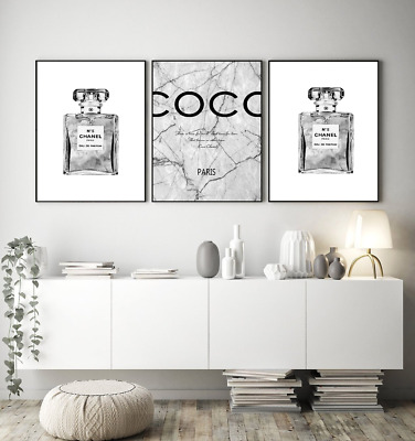 SET OF 3 CHANEL PERFUME BOTTLE PRINTS A4 GREY FASHION ART - Home gifts