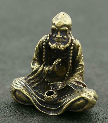 chinese old Pure copper hand-made Bodhidharma Buddha good luck Statue /Zb01