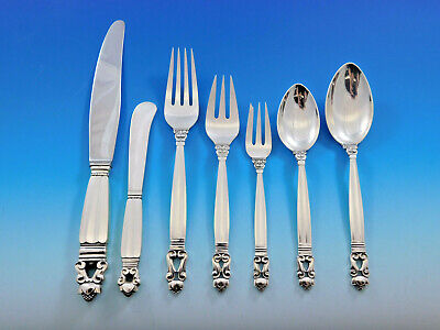 Acorn by Georg Jensen Danish Sterling Silver Flatware Set for 12 Dinner 91 pcs