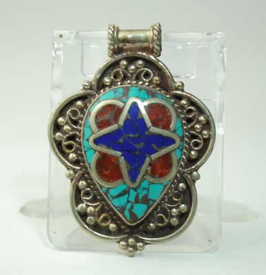 Collection chinese old hand-made Tibetan silver inlay Turquoise pendant 02/Aa02