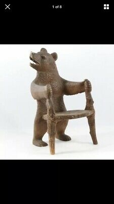 Antique 19thC Black Forest Carved Childs Bear Chair, Switzerland, Hand Crafted
