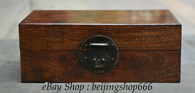 """10"""" Old Chinese Huanghuali Wood Dynasty palace Chest Box Casket Jewelry Cabinet"""
