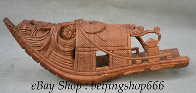 """12"""" Rare Old Chinese Bamboo Root Carving Luohan Damo Buddha Boat Ship Statue"""