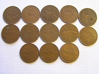 THIRTEEN New Zealand One Penny Coins Dates Listed
