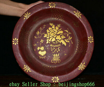 """13"""" Old Chinese Palace Wood lacquerware Hand-Carved Flower Dish Plate Tray"""