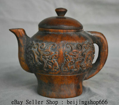 "5.6"" Xuande Marked Old Chinese Ming Ox Horn Dynasty Carved Beast Handle Teapot"