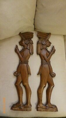 Vintage Carved Wood African Wall Art Folk Art Native Couple Set of 2 Collectible