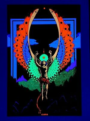 Rare 1973 Houston Black Light Poster - Icarus - Winged Man
