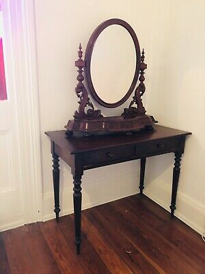 ANTIQUE DRESSING TABLE With Mirror CIRCA 1880's MAHOGANY TIMBERS