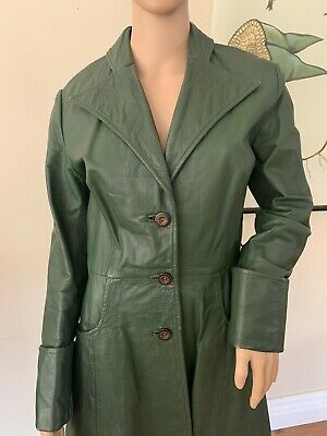 Vintage 70's Green Leather Long Jacket
