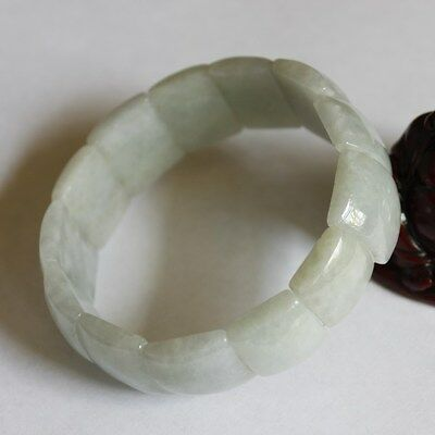 Certified Natural JADE (A) Untreated Light Green Jadeite Hand Bracelet #Br438