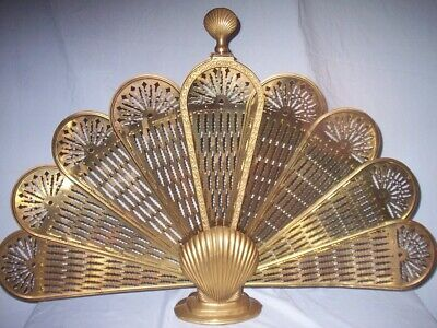 Too Cool Vintage Retro Solid Brass Clam Scallop Shell Fire Place Folding Screen
