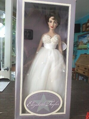 "The Franklin Mint -  16"" Elizabeth Taylor - Vinyl Portrait Doll - Wedding Gown"