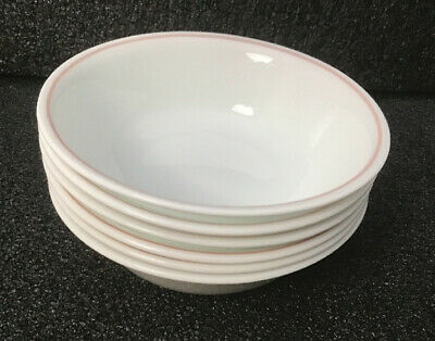 """6 Corelle Bowls Soup Cereal Salad White w Pink Stripe On Rim 6 1/4"""" Made In USA"""