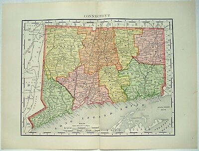 Connecticut - Original 1895 Map by Rand McNally. Antique