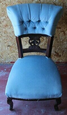 Lovely Victorian Mahogany Nursing Chair upholstered in Blue