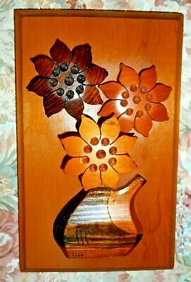 Wall Plaque Carved 3-D Teapot Flower Vase Wall hanging Initialed Crafted