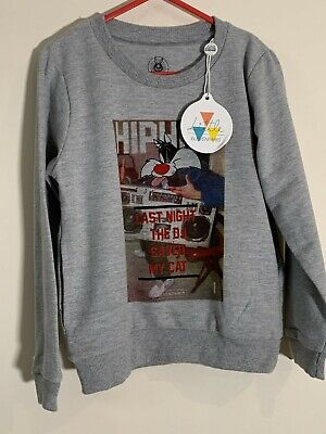 Little Eleven Paris * Boys Looney Tunes Sylvester Sweater Top * Grey * 6 Years