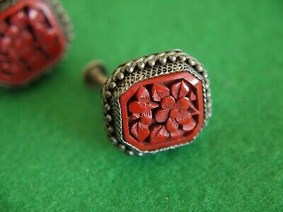 2 ATTRACTIVE VINTAGE ORNATE Chinese Carved Red CINNABAR EARRINGS JEWELLERY