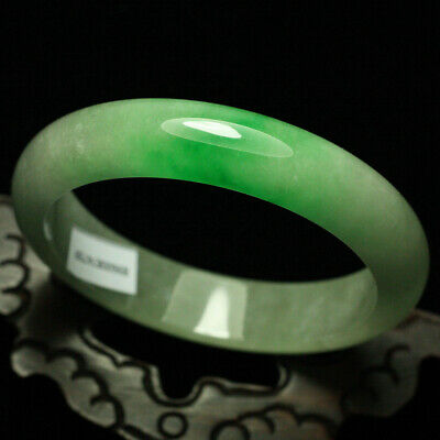 66mm Certified (Grade A) Natural ice Green Jadeite JADE Bracelet Bangle 1835