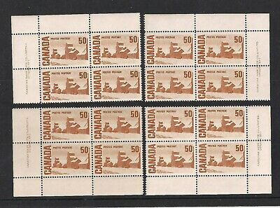 1967/73 Canada Mnh Plate-Blocks All 4 Pl;#1 Summer Stores 50 Cent Issue