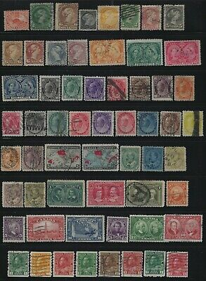 Canada - Early Years Used Stamps Collection Queen Victoria Edward Vii Kgv Hicv