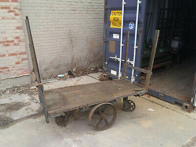 Large Vintage Factory Cart Wood Industrial Antique Wood Iron Push Bar 62""