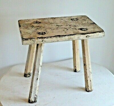 Vintage Antique Oak Four Legged Rustic Milking Stool.
