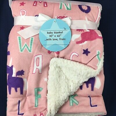 "Soft Baby Blanket 30"" x 40"" mink sherpa Pink and white with letters and unicorns"