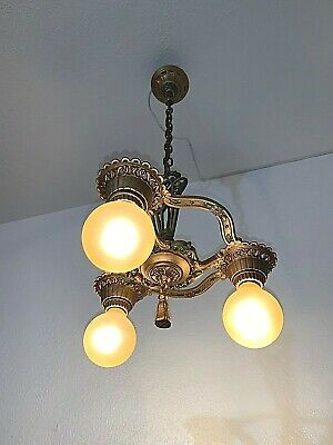 1930s Art Deco Cast Iron 3 Light Fixture