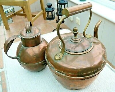 "Two Original Antique Copper Kettles Large 11"" and 8"" Tall"