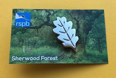 RSPB Sherwood Forest Silver Oak Leaf Pin Badge On Special Picture Card