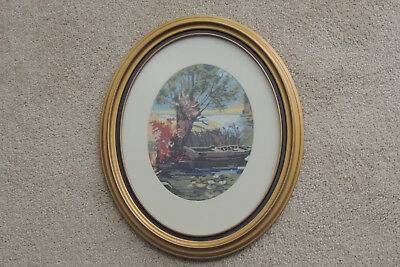 Framed Needlepoint OVAL GOLD FRAME FROM DEBRECEN HUNGARY WATER LILLY ,BOAT