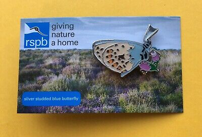 RSPB Silver Studded Blue Butterfly Enamel Pin Badge on Special Picture Card