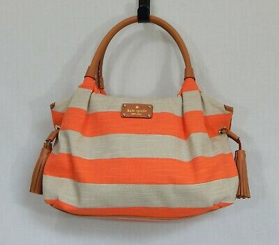 Kate Spade New York Jubilee Canvas Striped Purse Handbag Bag Tote Leather Tassel
