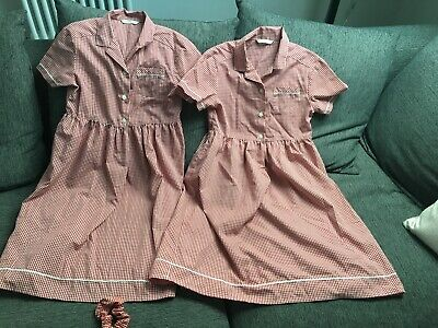 Marks & Spencer .Age 10 Red School Uniform Summer Dresses X2 and Hair Scrunchie