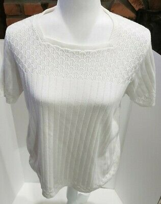 Alfred Dunner Women's Casual White Short Sleeve Square Neck Sweater Size Medium