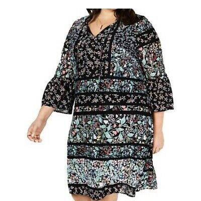 Style & Co Women's 3X Dress Black Floral Bell Sleeve Knee Length NEW NWT 69.50