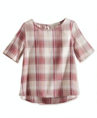 AQUA Girls' Plaid Shirt , Pink ,Size M MSRP $40