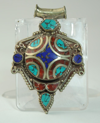 Collection chinese old hand-made Tibetan silver inlay Turquoise pendant 08/Aa02