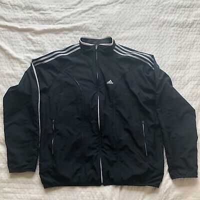 Adidas Windbreaker Pants Adult Extra Large Black White Stripes Spell Out 90s