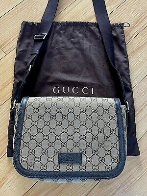 Authentic Gucci Messenger Bag with GG Logo Brown Includes Dust Bag
