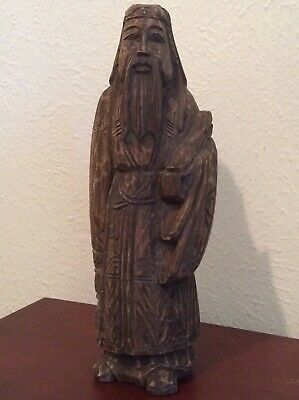 Estate Antique Chinese Wood Carved Standing Man Figurine 1 Ft