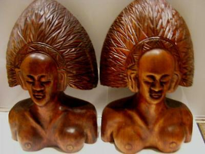 Indian Chief Headress 2 Bookend Figurines Cherokee 50s Hand Carve Solid Wood 13""