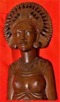 Bali Sculpture Balinese Wood Carved Statue Woman Bust Figure Lady