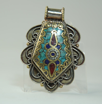 Collection chinese old hand-made Tibetan silver inlay Turquoise pendant 06/Aa02
