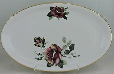 """Vintage Czechoslovakia Oval Serving Tray Ruby Red Rose Flower Gold Rim 13"""""""